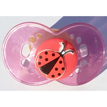 Lady Bug on Adult Size HUGE Plum (Ruby) (Transparent) Guard, with Red top - MLT5 Teat only